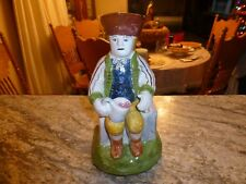 Macys Hand Made Colonial Man Pottery Toby Pitcher, with Sticker, Large