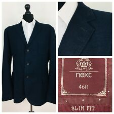 Next Mens Jacket Blazer Chest 46 Slim Fit Navy Blue Elbow Patches  (P18)
