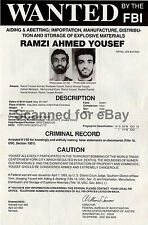 *VERY RARE* RAMZI YOUSEF WORLD TRADE CENTER BOMBER FBI WANTED POSTER *MAKE OFFER