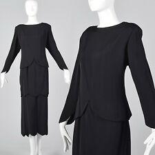 2XL 1980s Galanos Black Two Piece Dress Layered Tiered Skirt Evening Wear 80s
