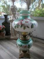 """antique GWTW CONVERTED OIL KEROSENE TABLE LAMP hand painted P & A ~ 21"""" tall"""