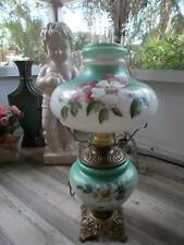 "antique Gwtw Converted Oil Kerosene Table Lamp hand painted P & A ~ 21"" tall"
