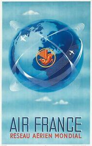 Original Vintage Poster - Plaquet - Air France - Pegasus Shrimp - Aviation -1948