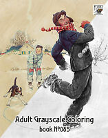 Adult Coloring Book (24 pages) Everyday Life Norman Rockwell FLONZ grayscale 085