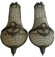 Pair French Empire Basket Crystal Wall Sconces Antique Replica Lamp Work lights