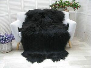 Real ICELANDIC QUAD Sheepskin Rug NATURAL BLACK Throw Sofa Floor Bed Cover Q44