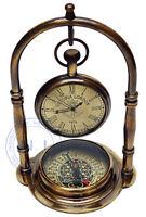 Maritime Brass Antique Desk Clock With Compass Home Decor Nautical Watch Gift