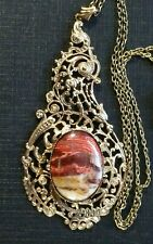Large Brecciated Jasper Pendant set in antique brass with Chain 61.5 cm (9L)