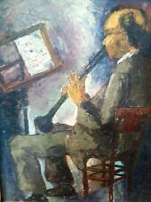 "1942 ""JazzMan"" Oil Painting Post Impressionism Great Look!"