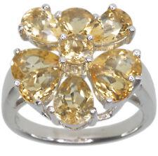 Citrine Gemstone Flower Step Design Sterling Silver Ring size L