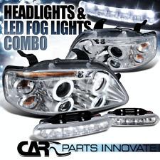 04-08 Chevy Aveo 4/5Dr Chrome LED Halo Projector Headlights+LED Fog Bumper DRL