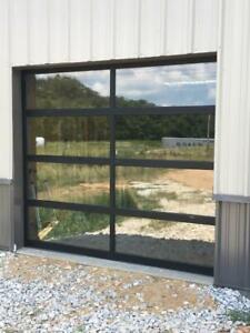 "Full View [8' x 6'-6""] Black Anodized Aluminum & 1/4"" Clear Glass Garage Door"