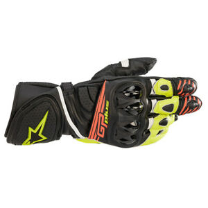 Alpinestars GP Plus R v2 Leather Sports Motorcycle Motorbike Gloves Yellow & Red
