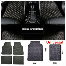 Black With Beige Line Car Front+Rear Seat Floor Carpet Mat Set Cover Protector