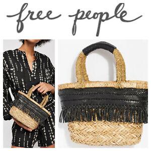 🆕FREE PEOPLE Moondance MINI Tote Purse Black Fringe Woven Seagrass Bag Straw🆕️