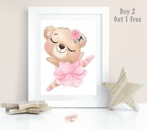 Baby, Girl Nursery Bedroom Wall Art Print Ballerina Bear, Bunny,Elephant Ballet