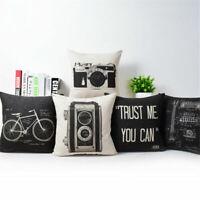 """18"""" Throw Linen Camera Cotton Home Pillow Cover Decor Retro Sofa Cushion Case"""