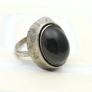 Vintage Brutalist Black Ring Sarah Coventry Costume Jewellery Silver Tone