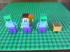 Lego Minecraft 3 Minifigures Steve, 2 Zombies, a Torch, and a Crafting Table