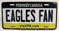 "EAGLES FAN P.A. Tag NFL Vanity License Plate 6"" x 12"" All Metal U.S.A. Made NEW"