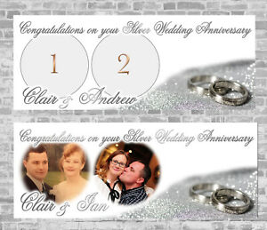 Silver Wedding Anniversary Personalised Party Banner Decoration 25th 20 years