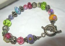 Art glass beaded bracelet with toggle clasp