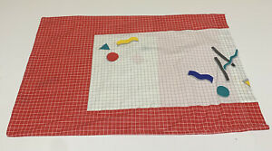 Vintage 80s Geometric Grid Pillowcase Red White