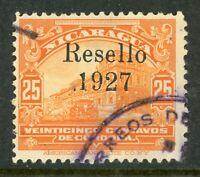 Nicaragua 1927 Cathedral Provisional 25¢ w/Black Ink VFU V396 ⭐