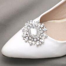 A Pair Vintage Style Silver Tone Diamante Rhinestone Crystal Shoe Clips