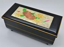 Vintage Black Enamel Music Jewelry Box Velvet Lined Flowers Made in Japan