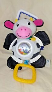Baby Einstein Busy Bellies Cow Vibrating Rattle Learning Toy Hanging Pull Down