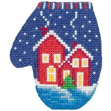 Klart Counted Cross Stitch Kit -  Christmas Decoration - Mitten with Houses