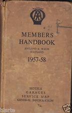 ELENCO HOTELS AND GARAGES 1957 58 MEMBERS HANDBPPK THE AUTOMOBIL CLUB ASS LONDON