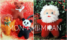KNITTING PATTERN To Make MASCOT TOYS Teddy Bear Panda Lion & Santa 14 cm Tall