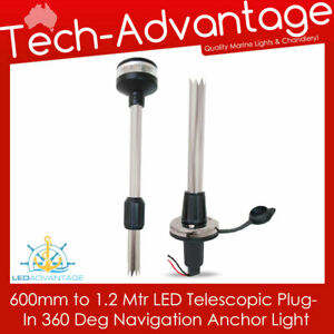 """12V 24""""-48"""" TELESCOPIC REMOVEABLE ANCHOR STERN PLUG-IN NAVIGATION BOAT LIGHT"""