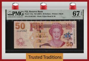 TT PK 113a ND (2007) FIJI 50 DOLLARS QUEEN ELIZABETH II PMG 67 EPQ SUPERB GEM!