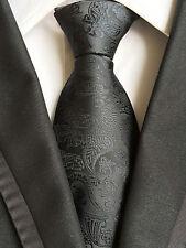 (NT274) 100% Seda Color Negro Hombre Corbata Corbata de hombre formal Tejida Jacquard de Paisley