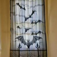 Halloween Party Black Lace Spider Web Cobweb Bat Tomb Window Curtain Hanging LD