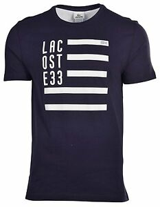 NWT LACOSTE EMBROIDERED CROC NECK T-SHIRT NAVY BLUE AND WHITE, S, M, L