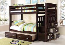 Allentown Youth Kid Twin Bunk Bed Storage Stairway Drawers Trundle Wood Espresso