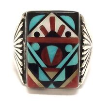 Zuni Handmade Sterling Multi Color/Stone Inlay Ring Size 10 - J.&V. Quam