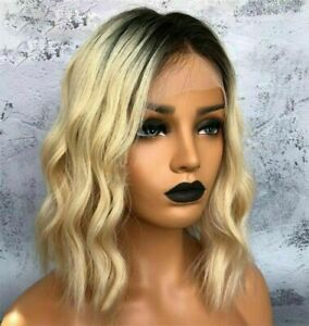 """14"""" Ombre Blonde Bob Human Hair Wig Short Wavy 13x6 Lace Front Wigs Two Tone 613"""