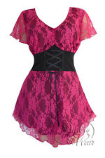 Gothic SWEETHEART Stretch Corset Style Top ORCHID PINK LACE Sizes 10/12 to 26/28