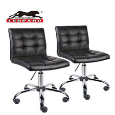 Adjustable Working Stools With Wheels, Square Back Pu Leather Padded, Set of 2