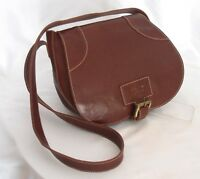 Italian CLAUDIA FIRENZE Brown Leather Sm-Med Shoulder Saddlebag Satchel Purse