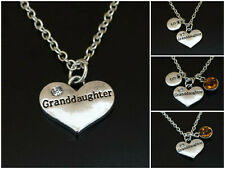 Granddaughter Necklace Initial Letter Birthstone Grandchild Charm Personalized