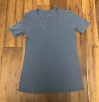 Lululemon Athletica Blue  Solid Love V Neck Run Tee Top T Shirt S/M - 4/6