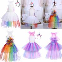 Child RAINBOW UNICORN Fancy Tutu Dress Cosplay Party Costume Girls Fairy tale