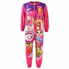 Shopkins Girls Pink/Purple Micro Fleece Pyjamas All In One Sleepsuit Age 2 3 4