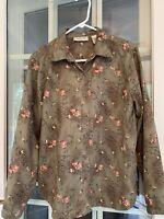 Lemon Grass Women's Size Large Olive Green Floral Long Sleeve Button Up Shirt